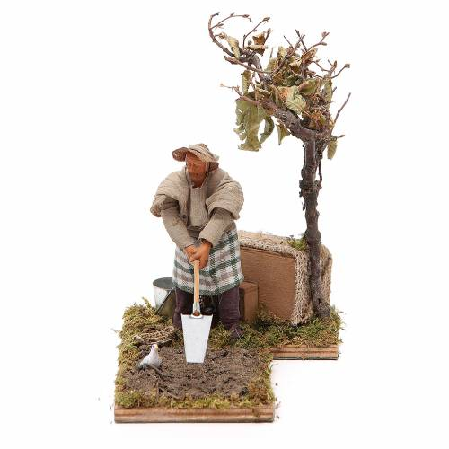 Agriculteur avec arbre 12 cm en mouvement crèche Naples s1