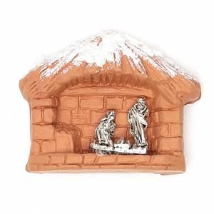 Magnets religieux: Aimant terre cuite Nativité
