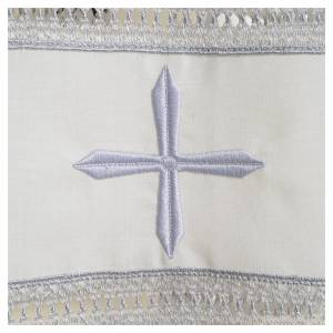 Albas litúrgicas: Alba marfil 55% pol. 45% lana bordado cruz cremallera hombro