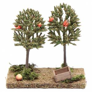 Muschio, licheni, piante, pavimentazioni: Alberi di mele per presepe 15x15x10cm