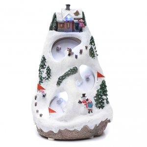 Aldea navideña iluminada musical movimiento esquiadores s1