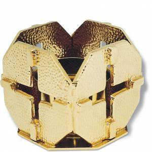 Metal candle holders: Altar candle holder, golden bronze crosses