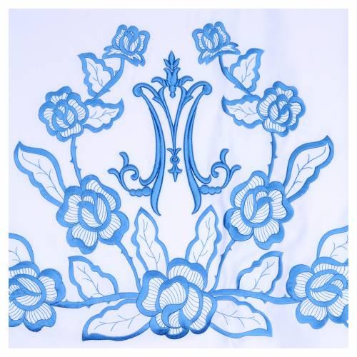 Altar Cloth 165x300cm blue flowers, Marian symbol s2