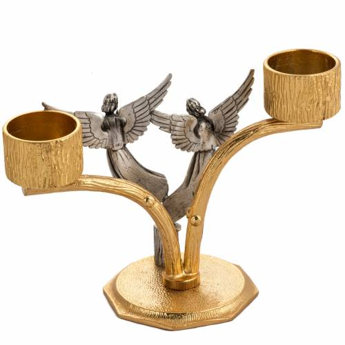 Altar cross and candle holders with angels and flames in bronze s5