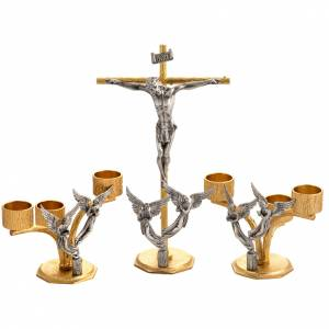 Altar cross and candle holders with flames and angels in bronze s1