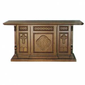 Ambones, reclinatorios, mobiliario religioso: Altar de madera maciza de estilo gótico 200x89x98 cm con escudo IHS