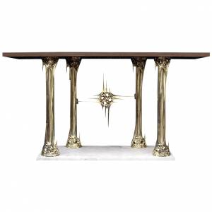Altar in gold-plated brass and marble base, 90x180x80cm s1