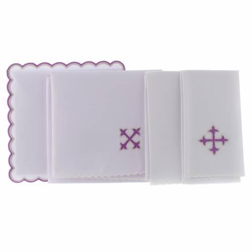 Altar linen baroque cross purple embroidery, cotton s2
