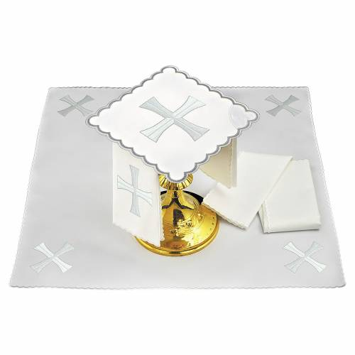 Altar linen white & silver cross, embroided s1