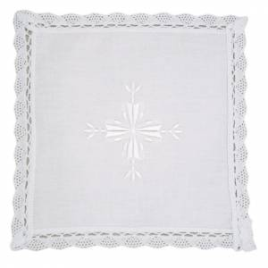 Altar linens: Altar linens, Pall in linen and cotton, cross embroidery, 2 piec