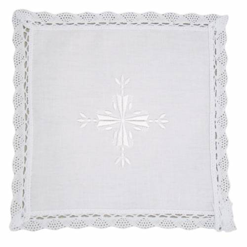 Altar linens, Pall in linen and cotton, cross embroidery, 2 piec s1