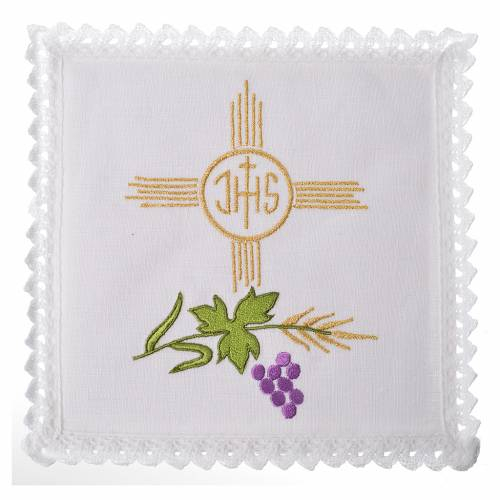 Altar linens set, 100% linen, IHS and grapes s1