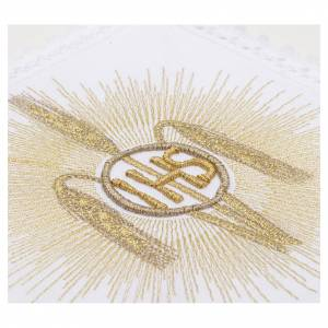 Altar linens, set of 4, 100% linen, IHS, whey and rays symbol s3