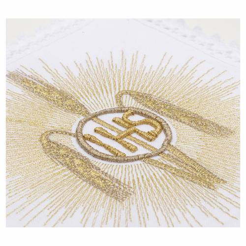 Altar linens, set of 4, 100% linen, IHS, whey and rays symbol 3