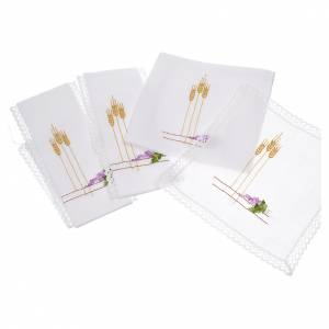 Altar linens with ears of wheat and grapes, 100% linen s3