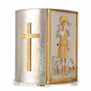 Altar tabernacle gold-plated brass, Good Shepherd s2