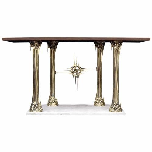 Altare ottone fuso dorato base marmo 90x180x80 cm s1