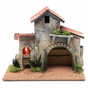 Capanne Presepe e Grotte: Ambientazione capanna con mensole e luce 25x30x20 cm