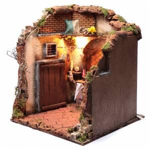 Ambientazione interno casa 50x40x40 cm presepe Napoli 24 cm s2