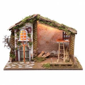 Capanne Presepe e Grotte: Ambientazione per presepe casa tetto rosso e fienile 35x50x25 cm