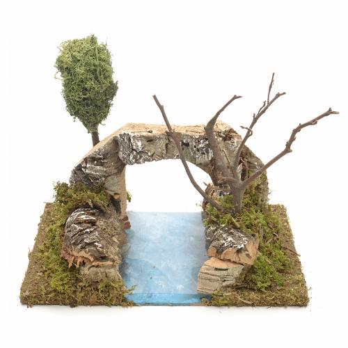 Ambientazione presepe fiume con arco in sughero s1