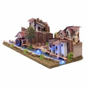 Ambientazione villaggio su fiume luminoso 20x55x25 cm s2