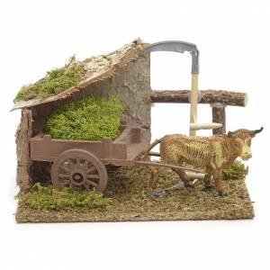 Ambiente pesebre buey marrón con carreta 10x14x9cm s1