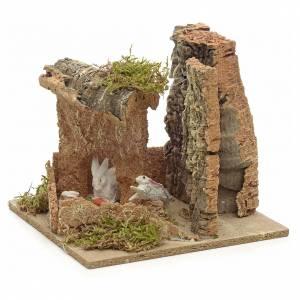 Ambiente pesebre conejos y corchos 14x15x14 cm s2