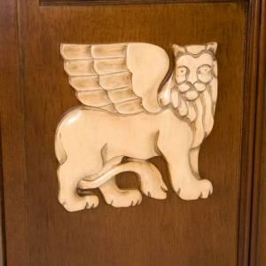 Ambone legno di noce simboli 4 evangelisti s6