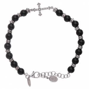 AMEN bracelets: AMEN 925 sterling silver and onyx bracelet with a zircon cross