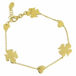 AMEN bracelets: AMEN Bracelet Angels & Hearts silver 925 Gold finish