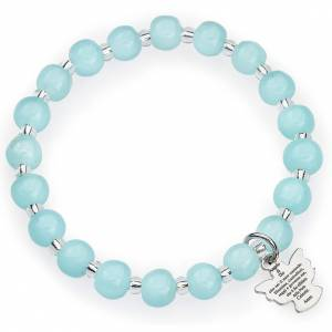Amen bracelet for children, Murano beads, aquamarine sterling si s1