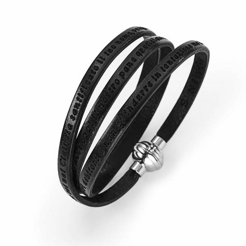 Amen Bracelet in black leather Our Father ITA s1