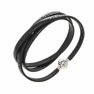 Amen Bracelet in black leather Our Father SPA s1
