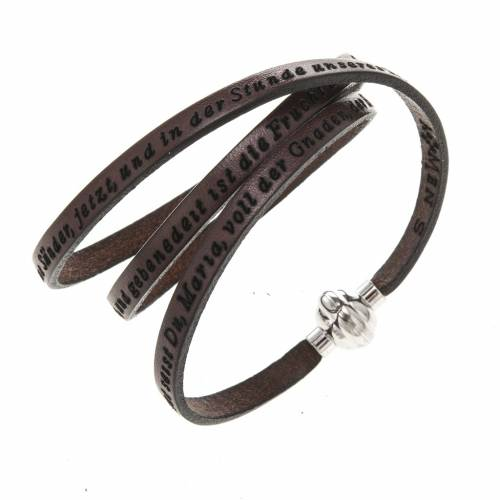 Amen Bracelet in brown leather Hail Mary GER s1