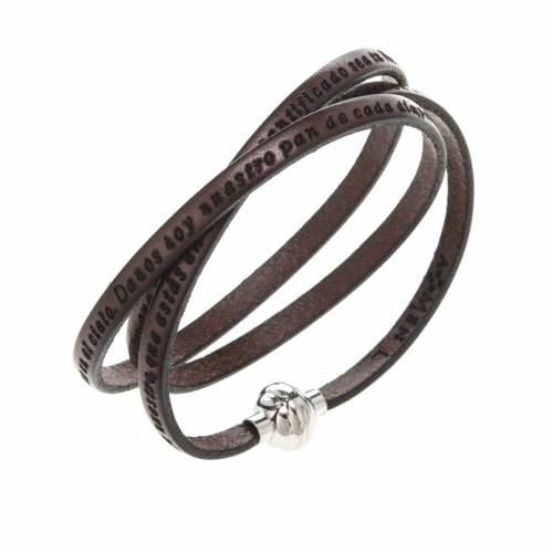 Amen Bracelet in brown leather Our Father SPA s1