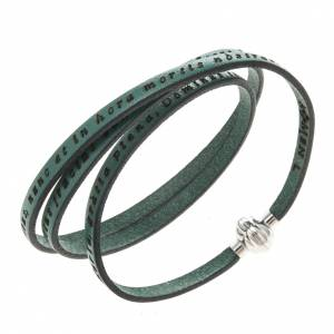 Amen Bracelet in green leather Hail Mary LAT s1