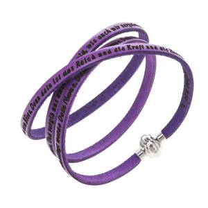 Amen Bracelet in purple leather Our Father GER s1