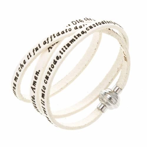 Amen Bracelet in white leather Guardian Angel ITA s1