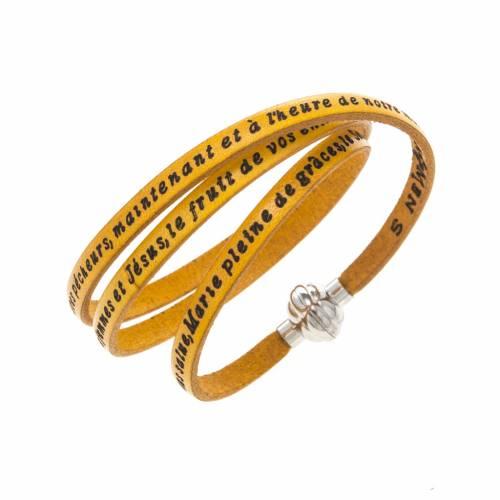 Amen Bracelet in yellow leather Hail Mary FRA s1
