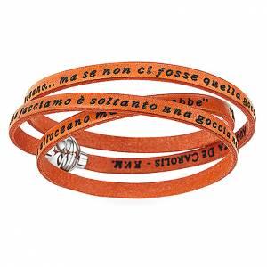 AMEN Bracelet Mother Teresa phrase ITALIAN, orange s1