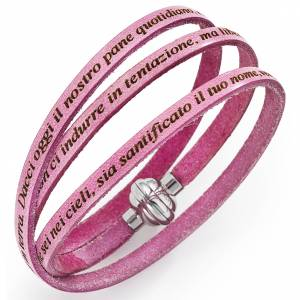 Amen bracelet with Our Father in Italian, ancient pink s1