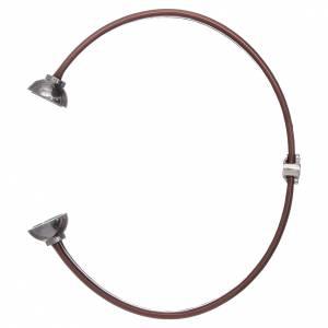 AMEN bracelets: AMEN brown thermoplastic 925 sterling silver bracelet with a zirconate angel insert