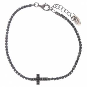 AMEN bracelets: AMEN burnished 925 sterling silver tennis bracelet with black zircons  and cross