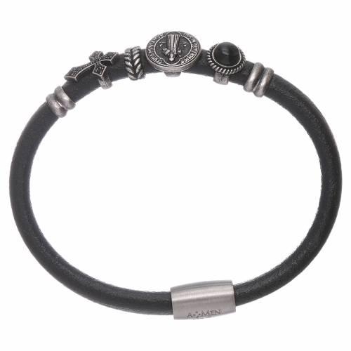 AMEN Saint Benedict leather bracelet with bronze charms s1