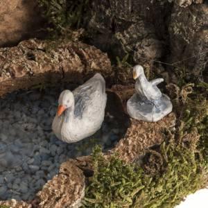 Animali presepe: Anatre nel lago e capra ambientazione presepe 8-10 cm