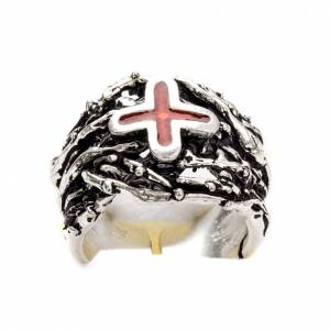 Anello episcopale argento 800 croce smalto s6