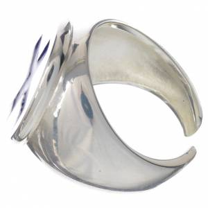 Anello episcopale argento 925 croce smalto blu s3