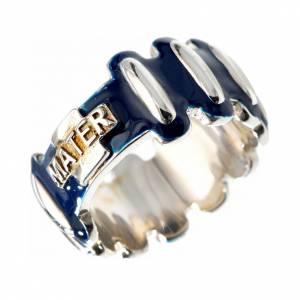 Anelli preghiera: Anello rosario MATER argento 925 smaltato blu