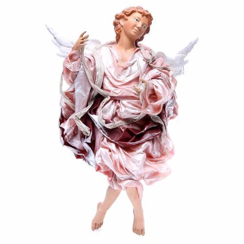 Ange blond 45 cm avec robe rouge crèche Naples s1